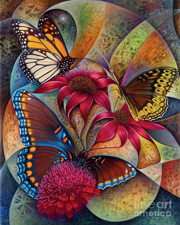 Dynamic Papalotl Series 1 - Diptych Painting by Ricardo Chavez-Mendez