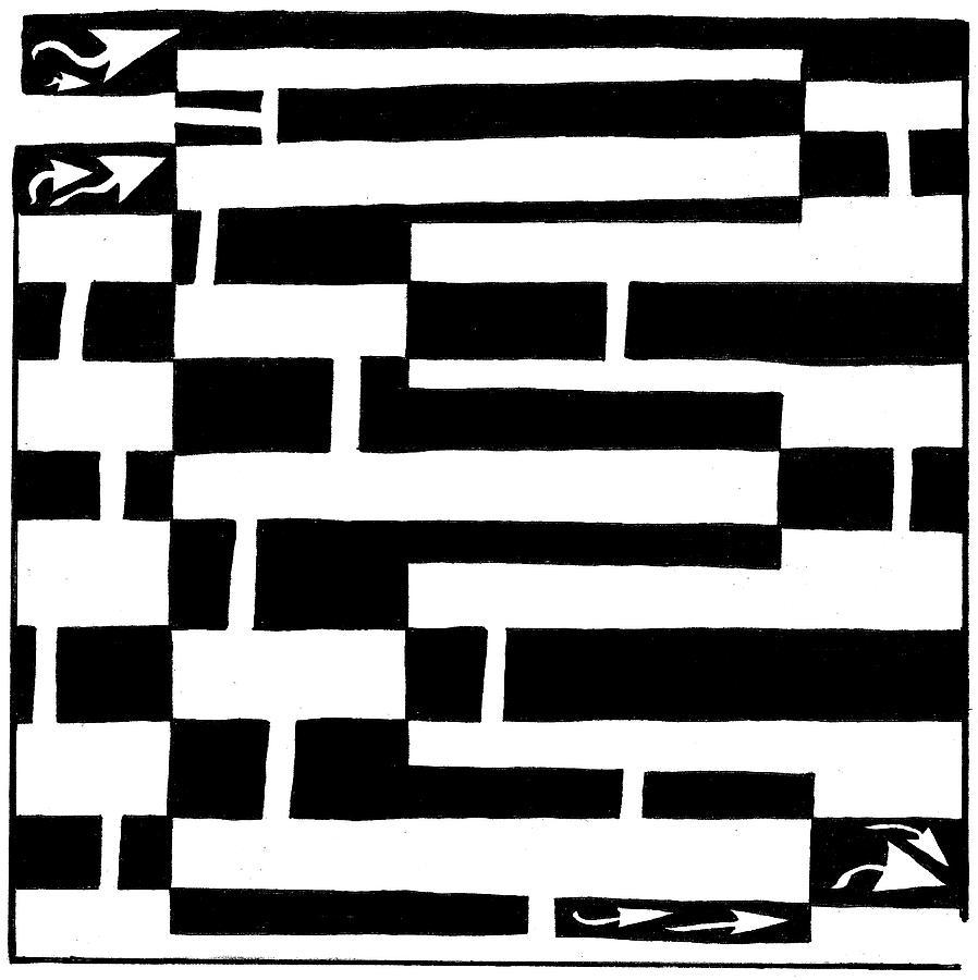 Maze Drawing - E Maze by Yonatan Frimer Maze Artist