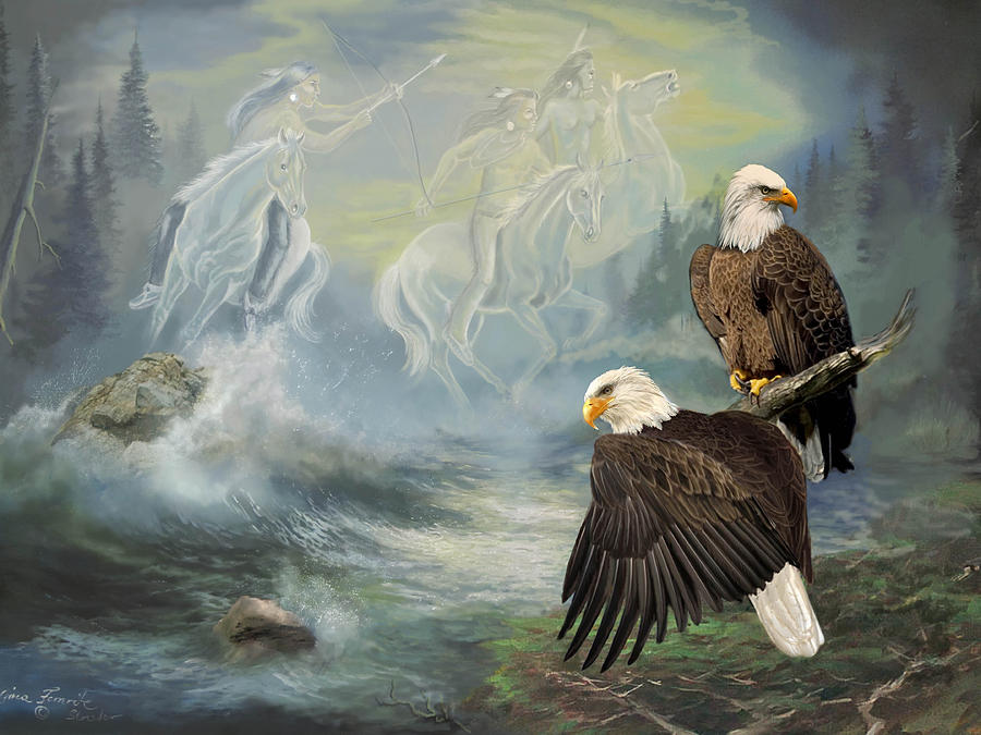 Eagels And Native American  Spirit Riders Painting
