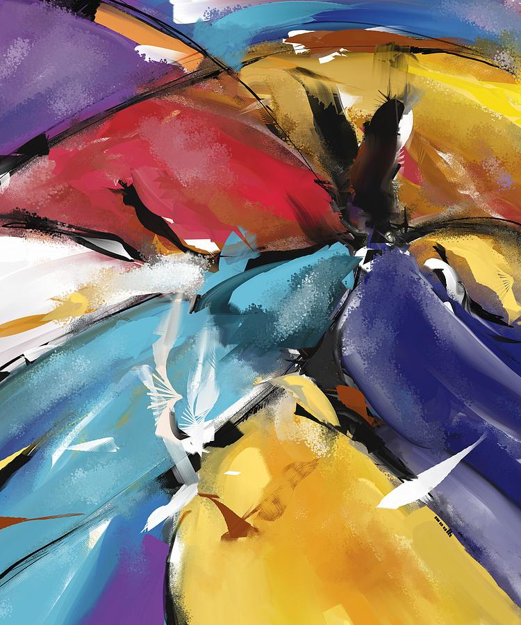 Digital Painting - Eagle And Doves Abstract 1510 by Patric Mouth