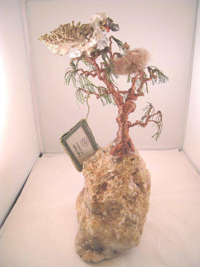 Metal Tree Sculpture - Eagle-eaglett by Judy Byington