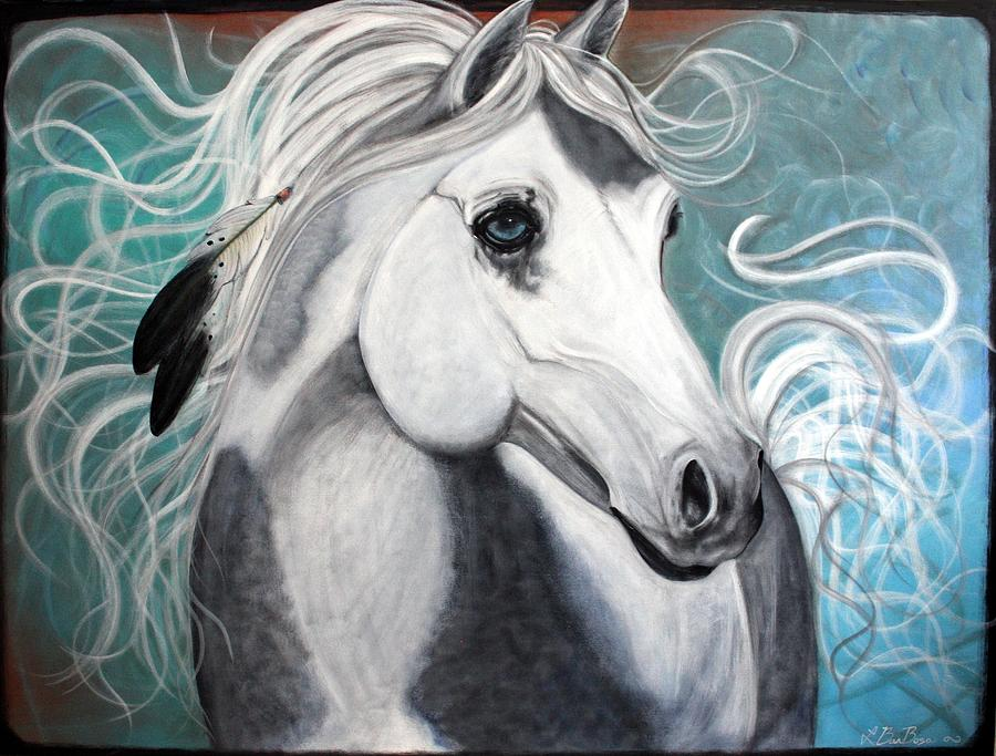 Horse Painting - Eagle Feathers by Laura Barbosa