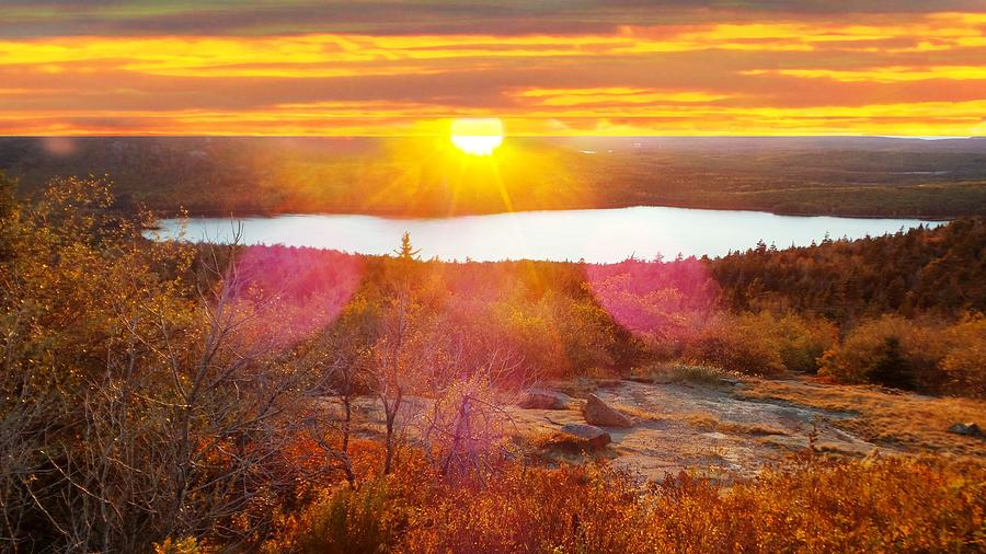 Eagle Lake Sunrise-acadia National Park Photograph