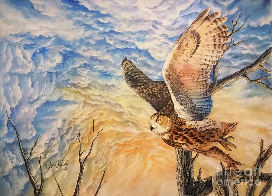 Eagle Owl Painting - Eagle Owl by Anne Koivumaki - Fine Art Anne
