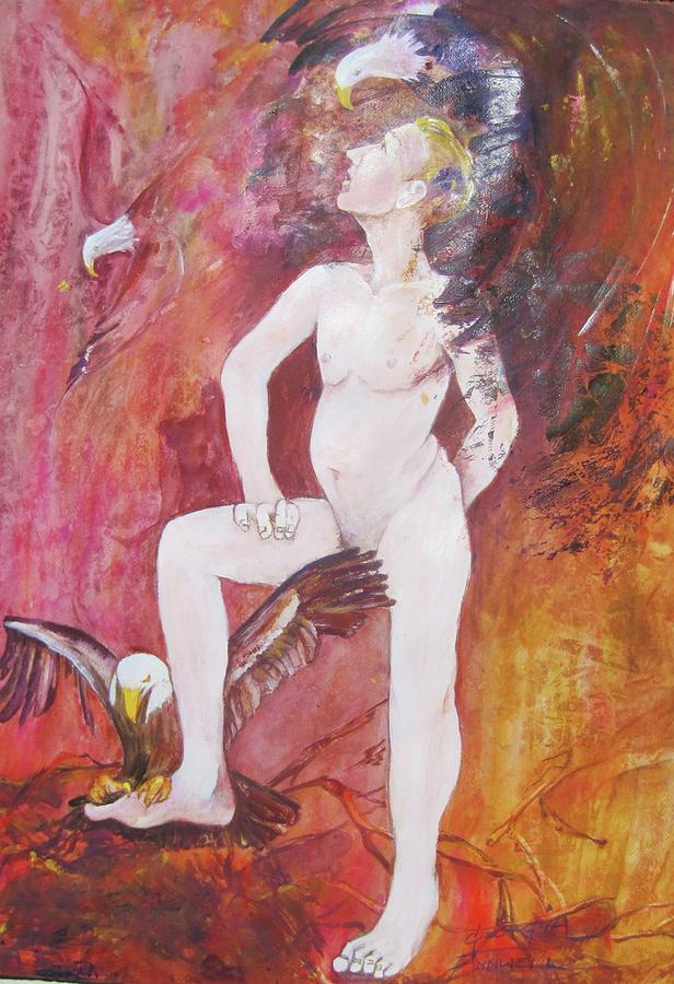 Painting Depicts A Nude Man Touched By Two Eagles.  Whimsical And Abstracted.  Rendered In Pinks Painting - Eagle Scout by Georgia Annwell