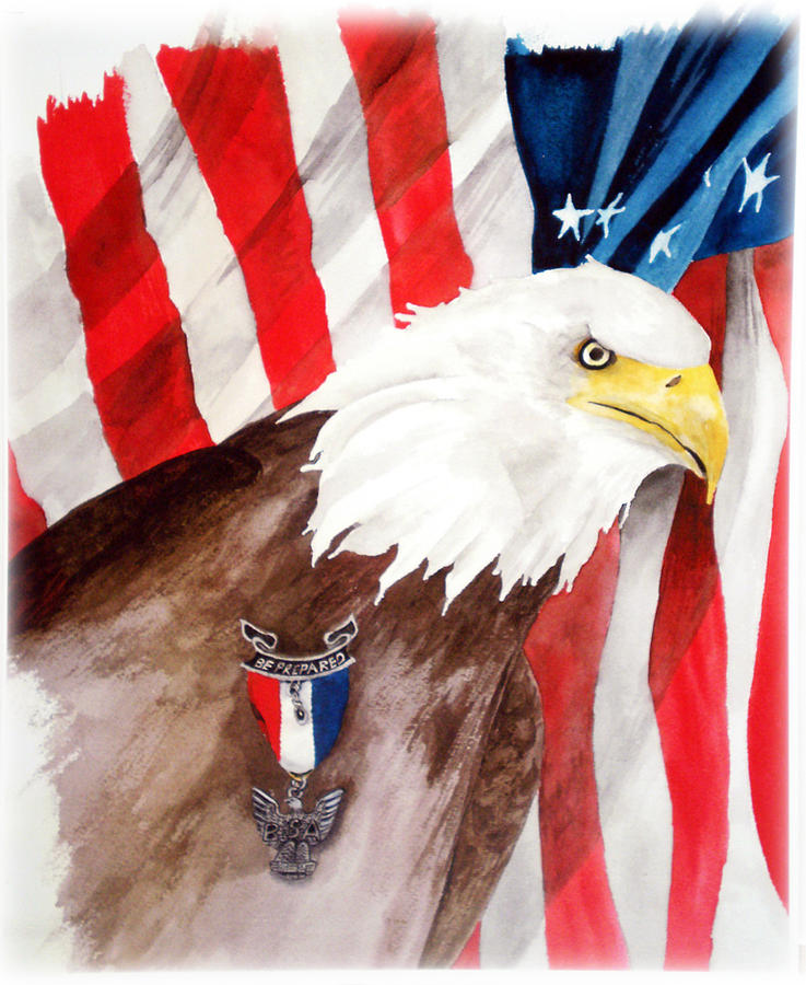 Bsa Painting - Eagle Scout by Rosalea Greenwood