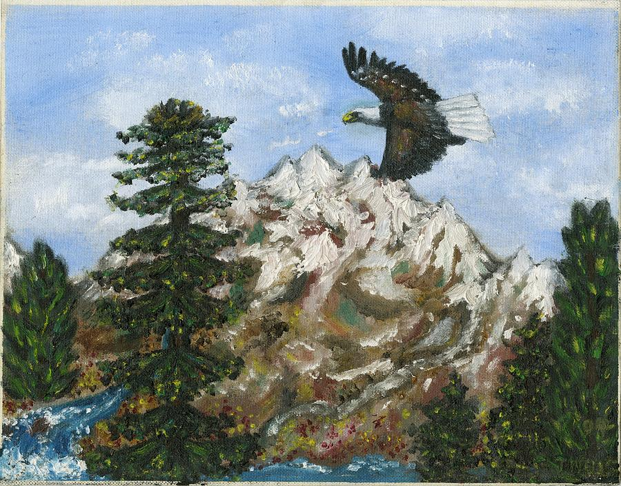 Eagle to Eaglets in Nest Painting by Tanna Lee M Wells