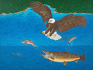 Eagle Trophy Brown Trout Rainbow Trout Art Print Blue Mountain Lake Artwork Giclee Birds Wildlife Painting by Baslee Troutman