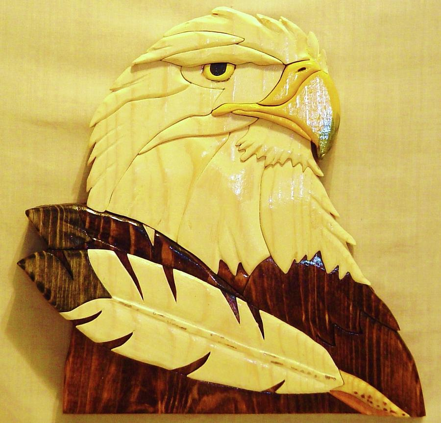 Intarsia Sculpture - Eaglehead With Two Feathers by Russell Ellingsworth