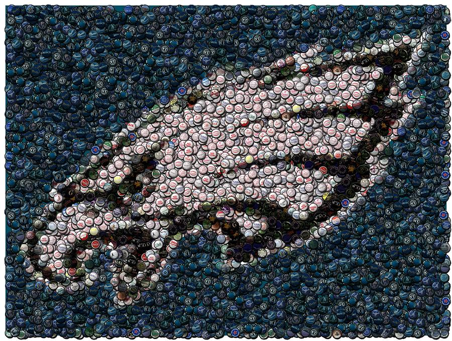 Philly Mixed Media - Eagles Bottle Cap Mosaic by Paul Van Scott