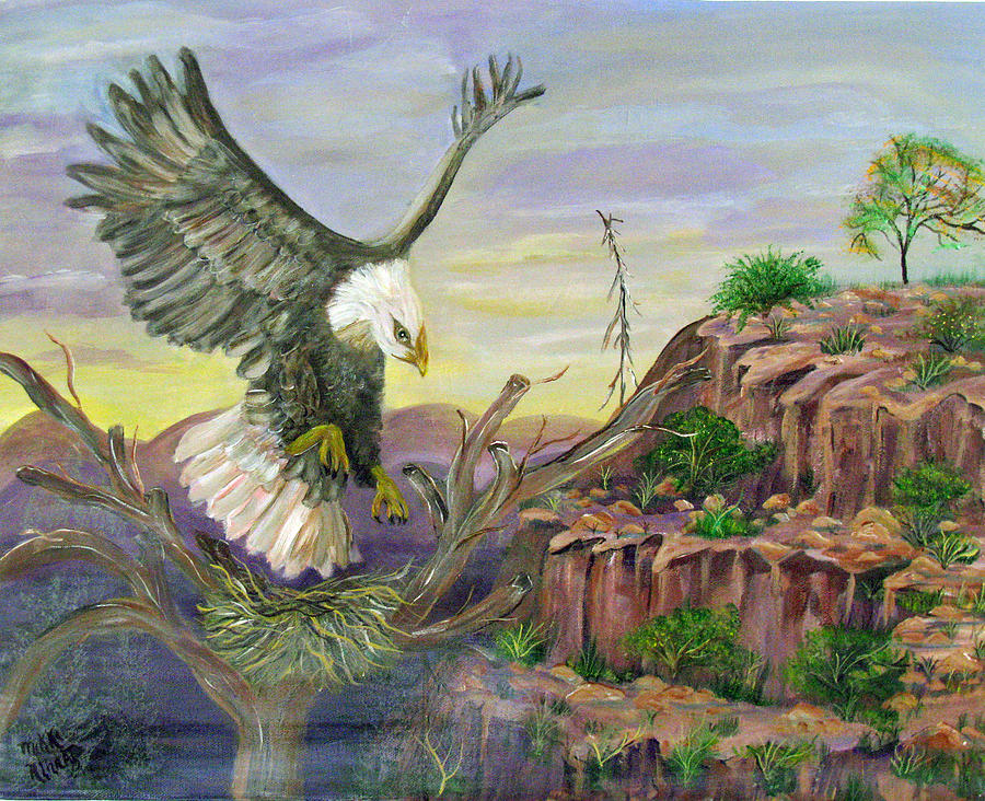 Eagle Painting - Eagles Nest by Mikki Alhart