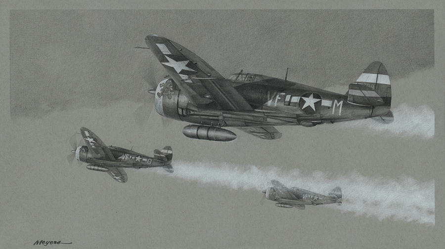 P-47 Drawing - Eagles Of Thunder by Wade Meyers