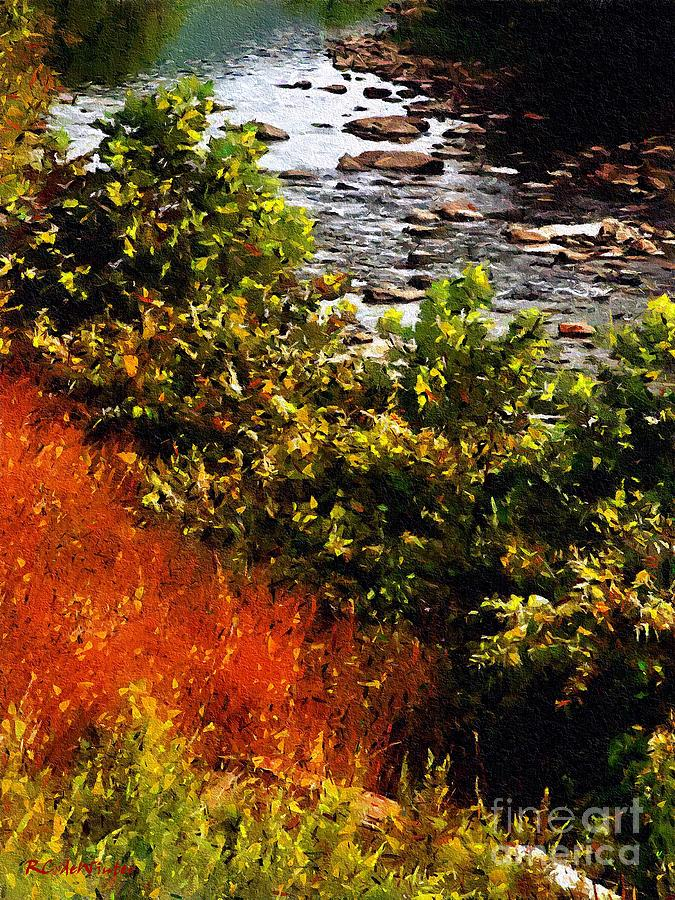 River Painting - Early Autumn Along The Naugatuck by RC DeWinter
