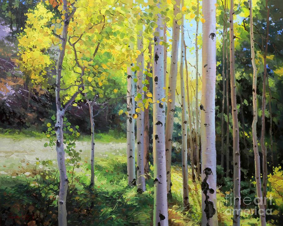 Autumn Aspen Acrylic Painting