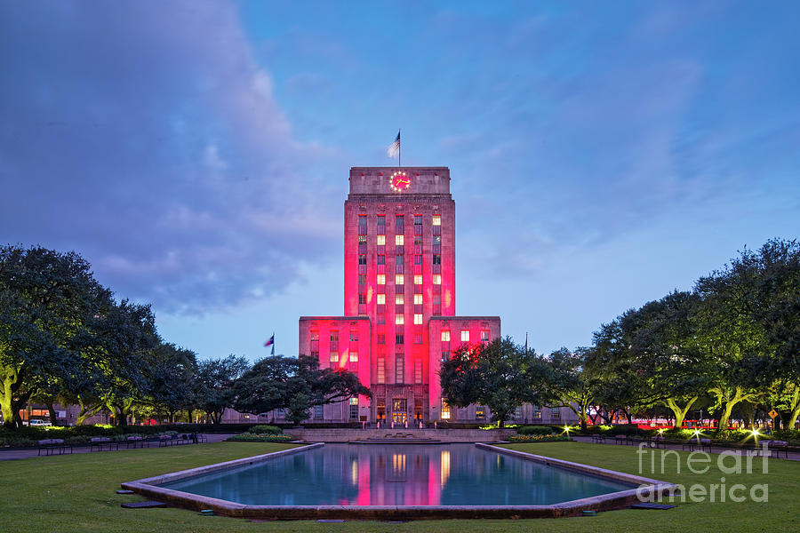 Downtown Photograph - Early Dawn Architectural Photograph Of Houston City Hall And Hermann Square - Downtown Houston Texas by Silvio Ligutti