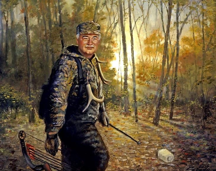 Hunting Painting - Early Morning - Bow Hunting by Mark Sanislo