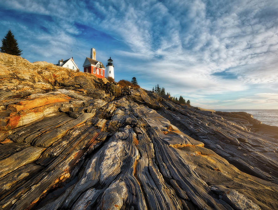 Clouds Photograph - Early Morning At Pemaquid Point by Darren White