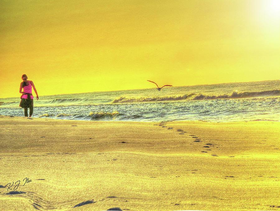 Beach Digital Art - Early Morning Beach Walk by Kathleen Illes