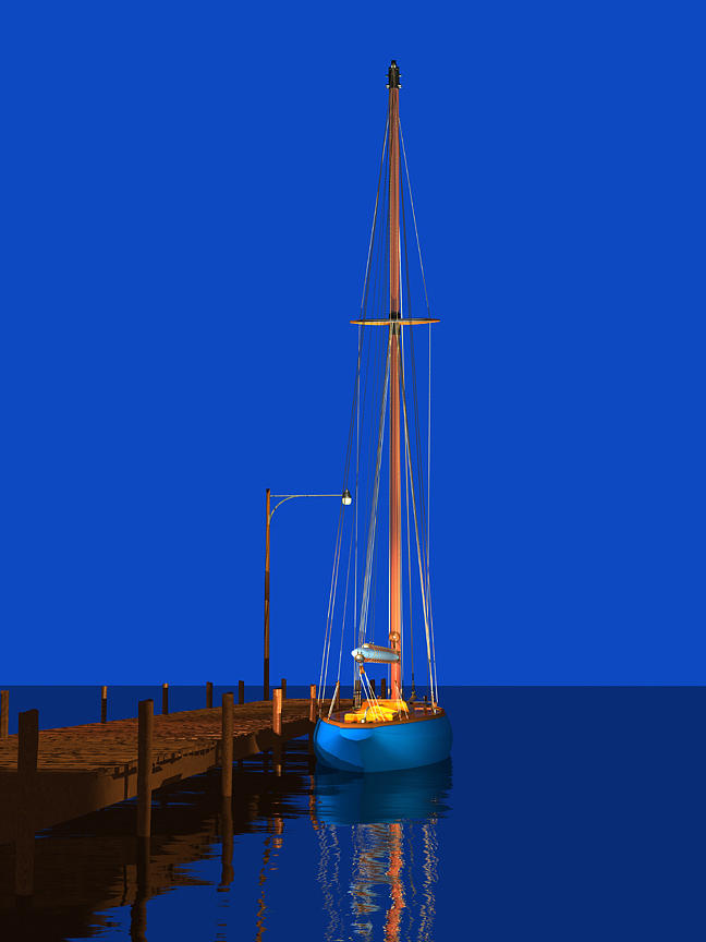 Wooden Sailboat Digital Art - Early Morning Blue by Stephen Harlan