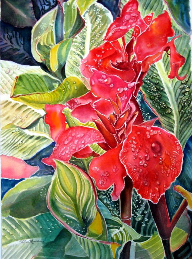 Nature Painting - Early Morning Cannas  by Therese AbouNader
