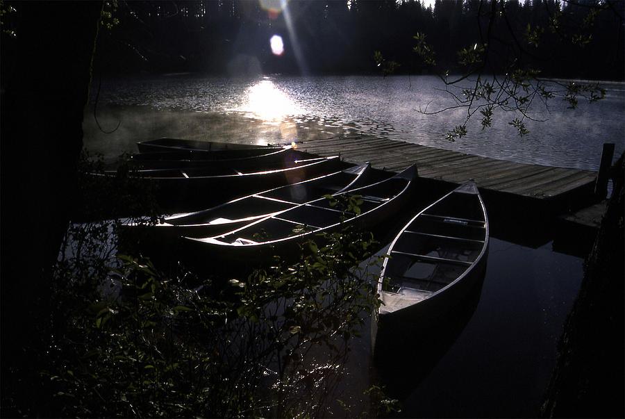 Sunrise Photograph - Early Morning Canoes by Jeffrey  Sinnock