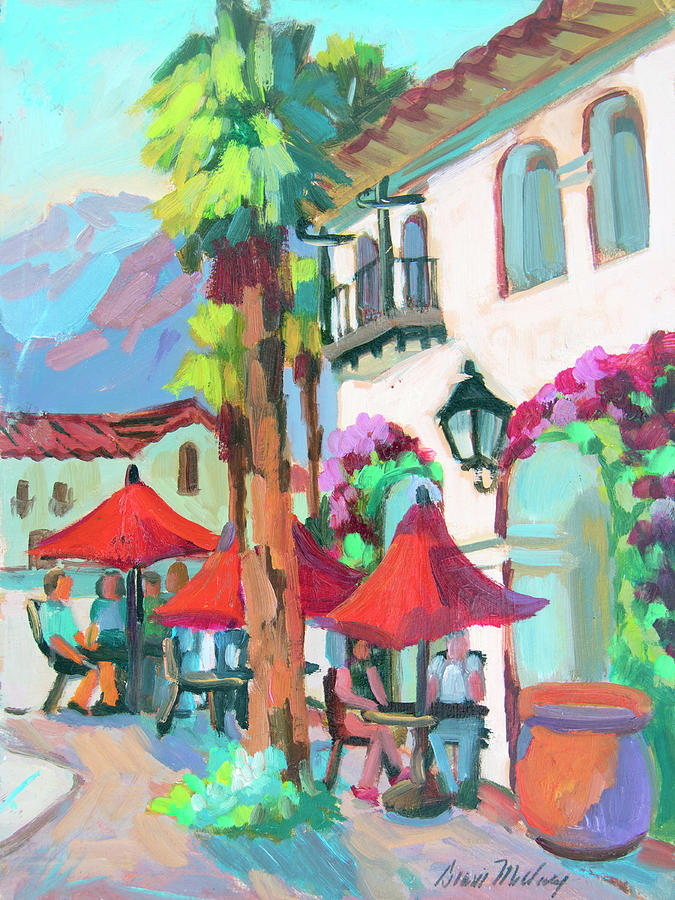 Coachella Valley Painting - Early Morning Coffee In Old Town La Quinta 2 by Diane McClary