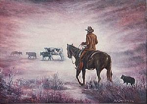 Western Painting - Early Morning Drive by Naomi Dixon