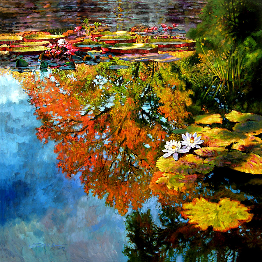 Landscape Painting - Early Morning Fall Colors by John Lautermilch