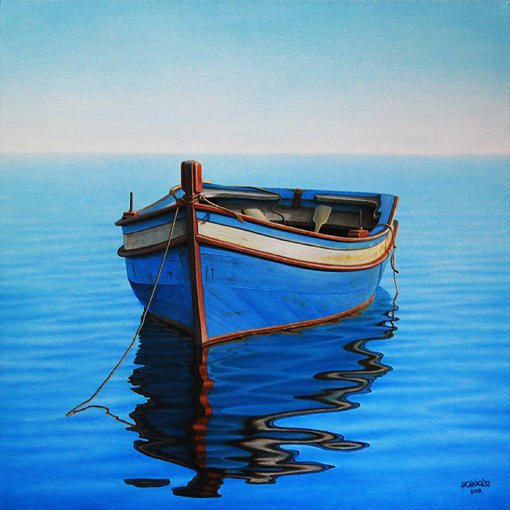 Early morning painting by horacio cardozo for Fishing boat painting