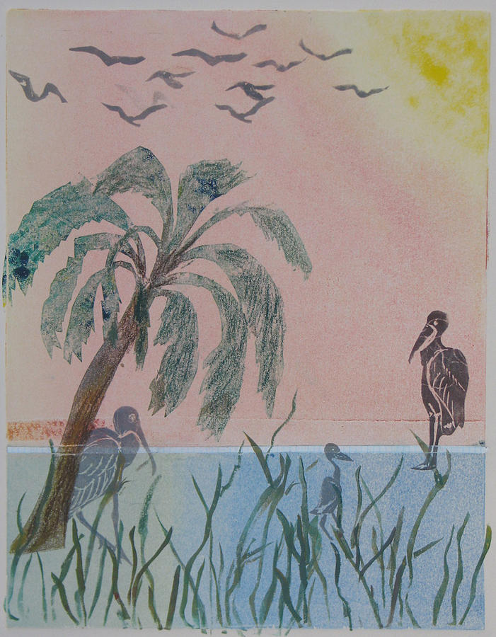Landscape Painting - Early Morning Migration - Monotype by Libby  Cagle