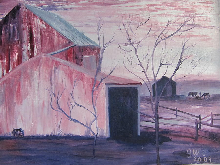Barn Painting - Early Morning On A Horse Farm by Gloria Condon