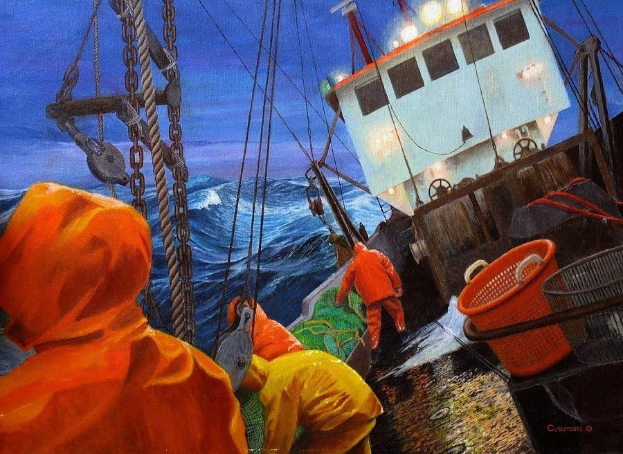 Maritime Painters Painting - Early Morning On Georges Banks by Phil Cusumano