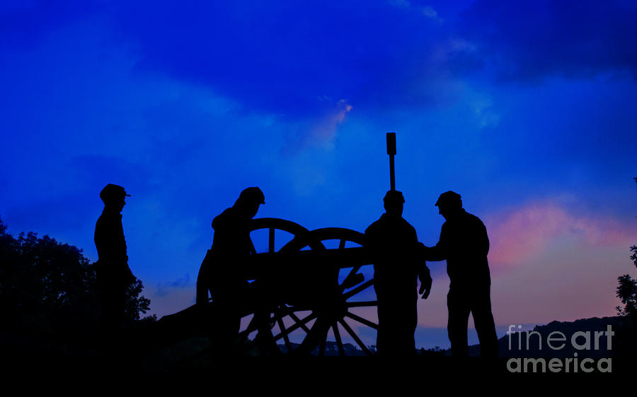 Union Artillery Digital Art - Early Morning On Little Round Top by Randy Steele