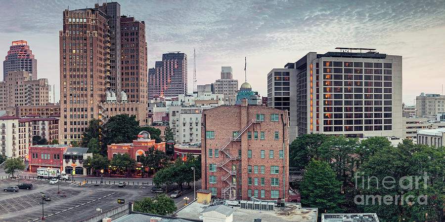 Downtown Photograph - Early Morning Panorama of Downtown San Antonio Skyline and Architecture - Bexar County Texas by Silvio Ligutti