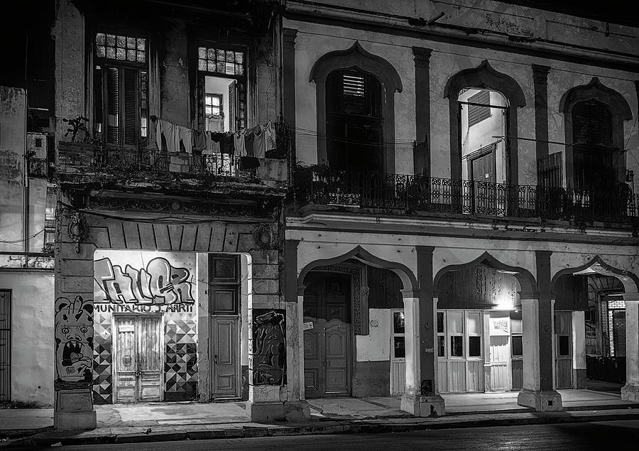Joan Carroll Photograph - Early Morning Paseo Del Prado Havana Cuba Bw by Joan Carroll
