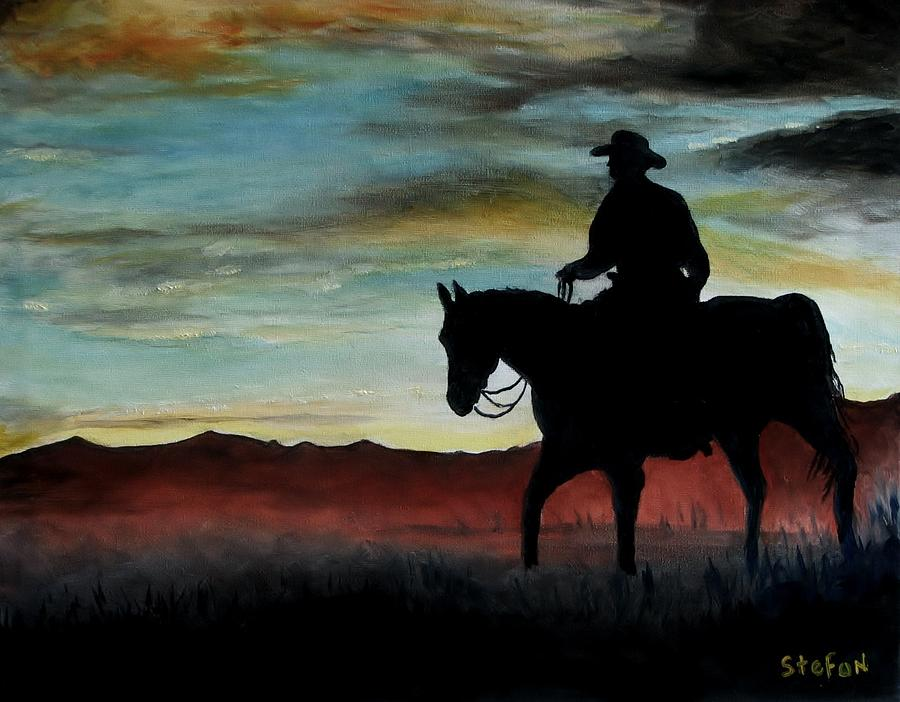 Cowboy Painting - Early Morning Ride by Stefon Marc Brown