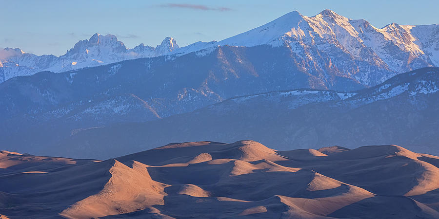 Early Morning Sand Dunes And Snow Covered Peaks Photograph