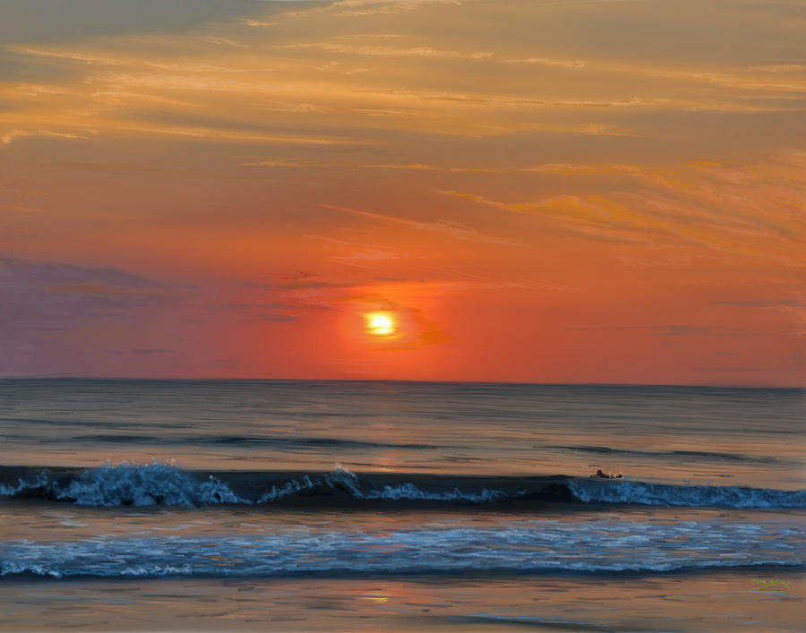 Sunrise Painting - Early morning surfing by Myke  Irving