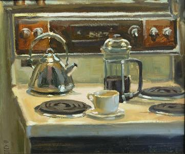 Coffee Painting - Early Morning by Tony Bianco