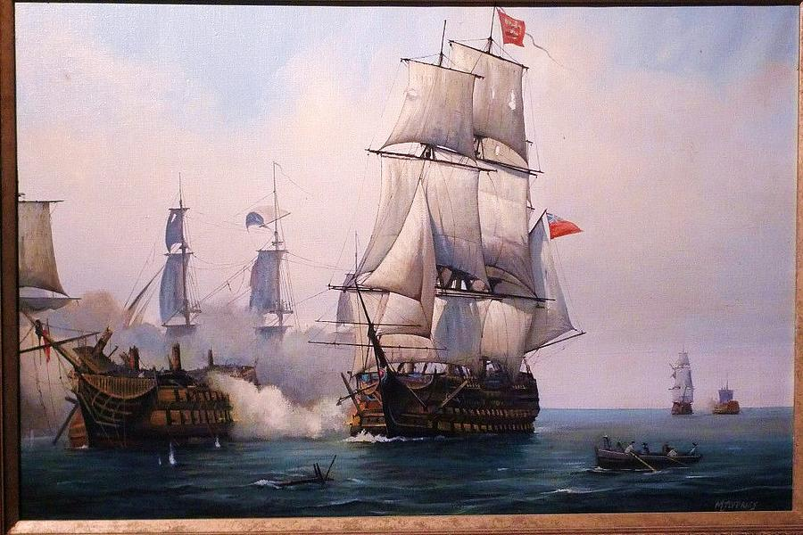Ship Painting - Early Painting Of The Battle Of Trafalgar. by Mike Jeffries