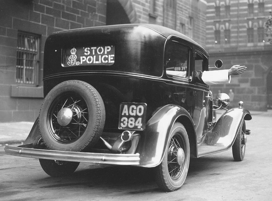 Adults Only Photograph - Early Police Car by Topical Press Agency