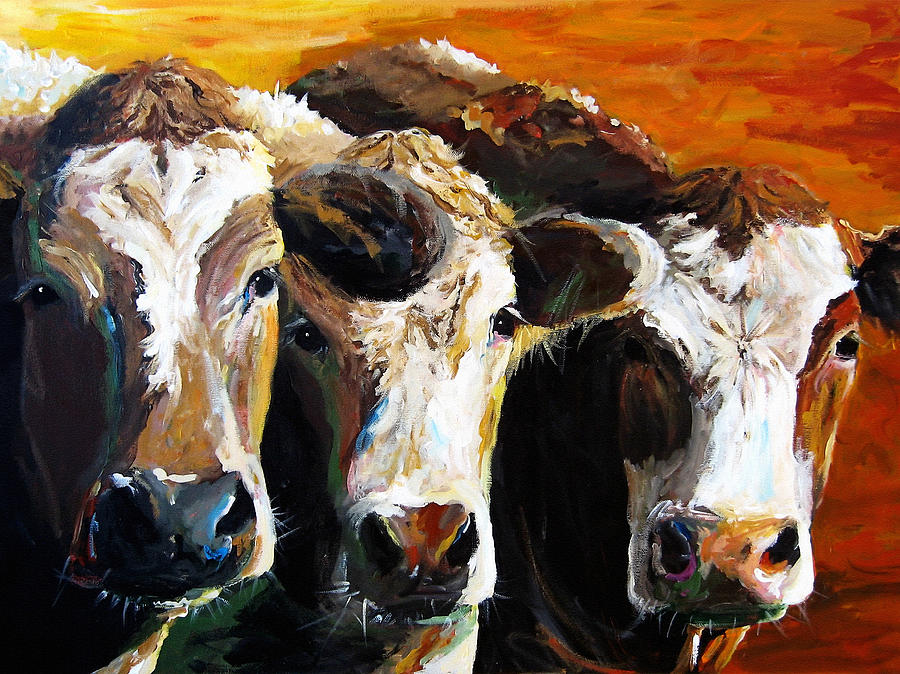 Cattle Painting - Early Risers by Cari Humphry