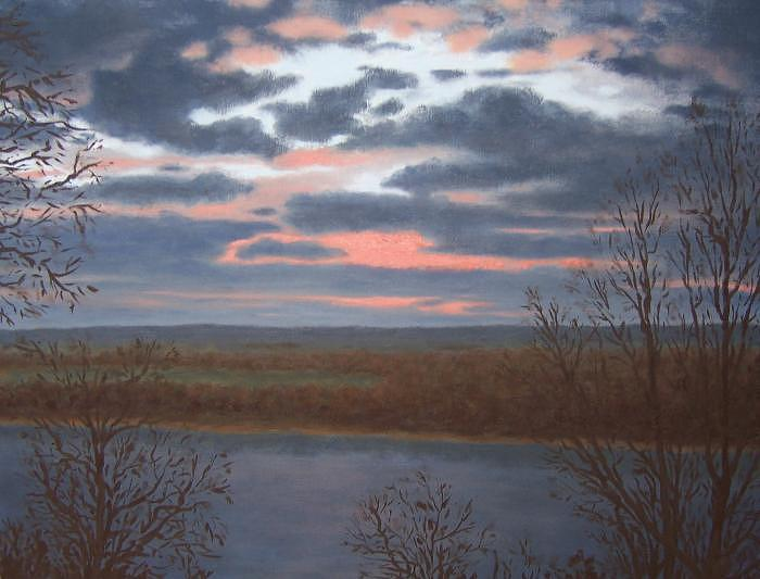 Landscape Painting - Early Risers Over Mississippi by David Menendez