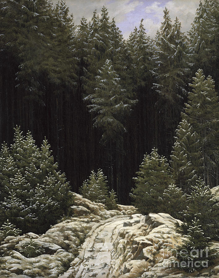 Early Painting - Early Snow by Caspar David Friedrich