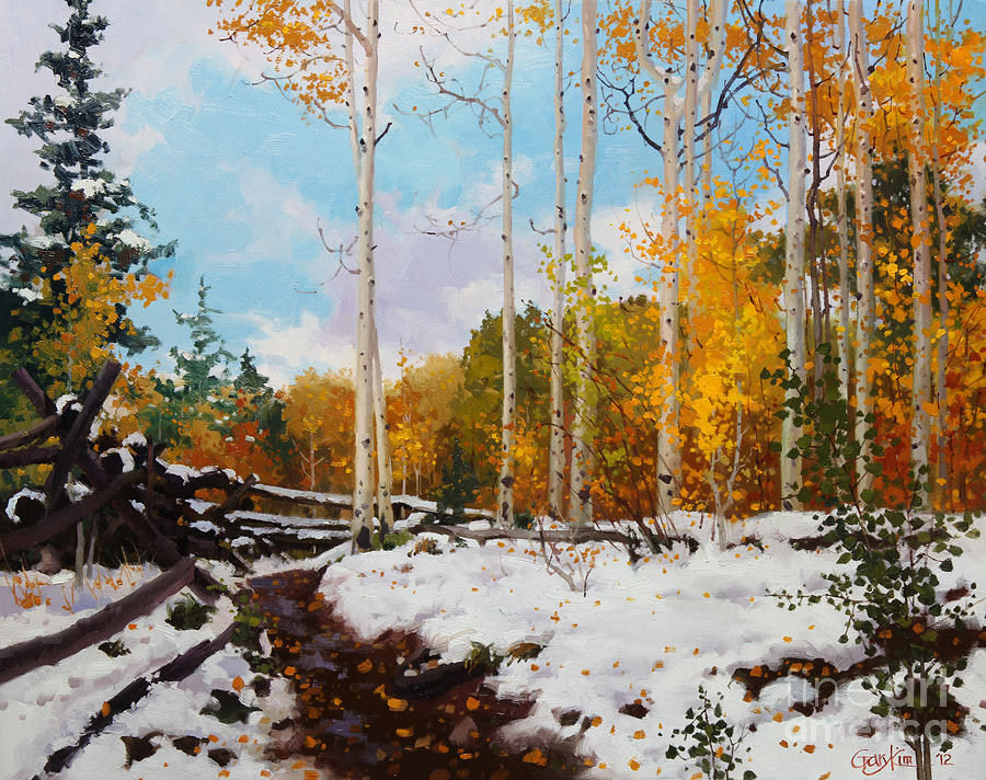 Aspen Trees Painting - Early Snow Of Santa Fe National Forest by Gary Kim