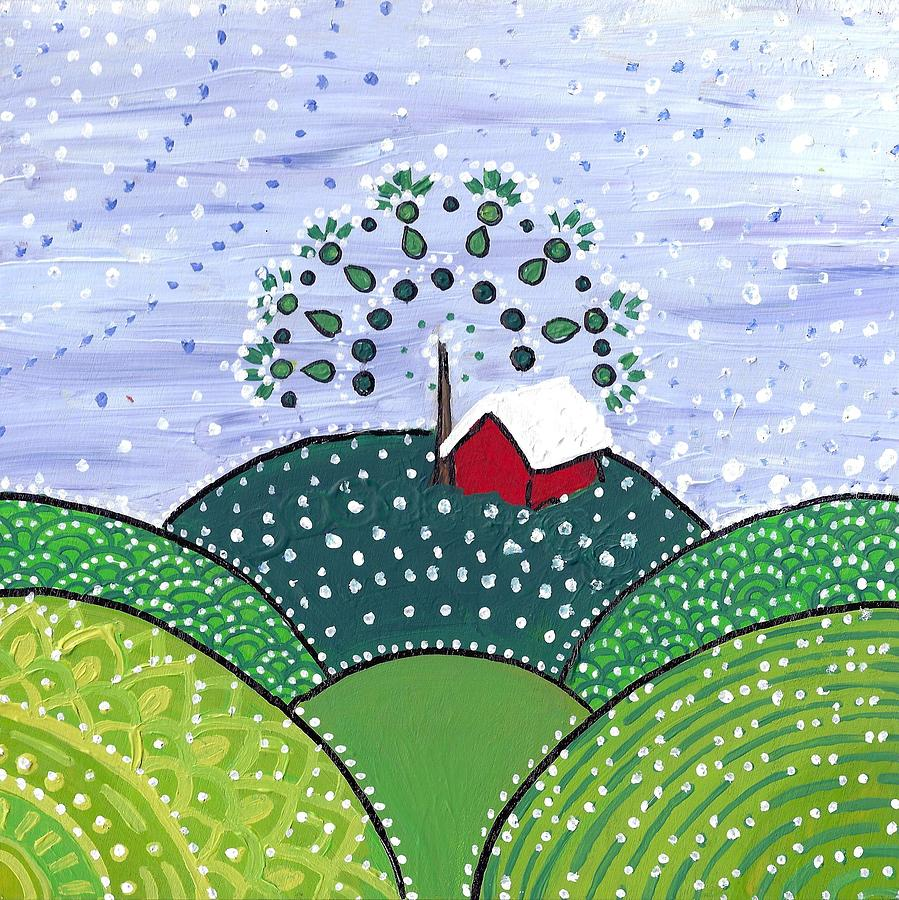 Early Snow on the Little Red Barn by Caroline Sainis