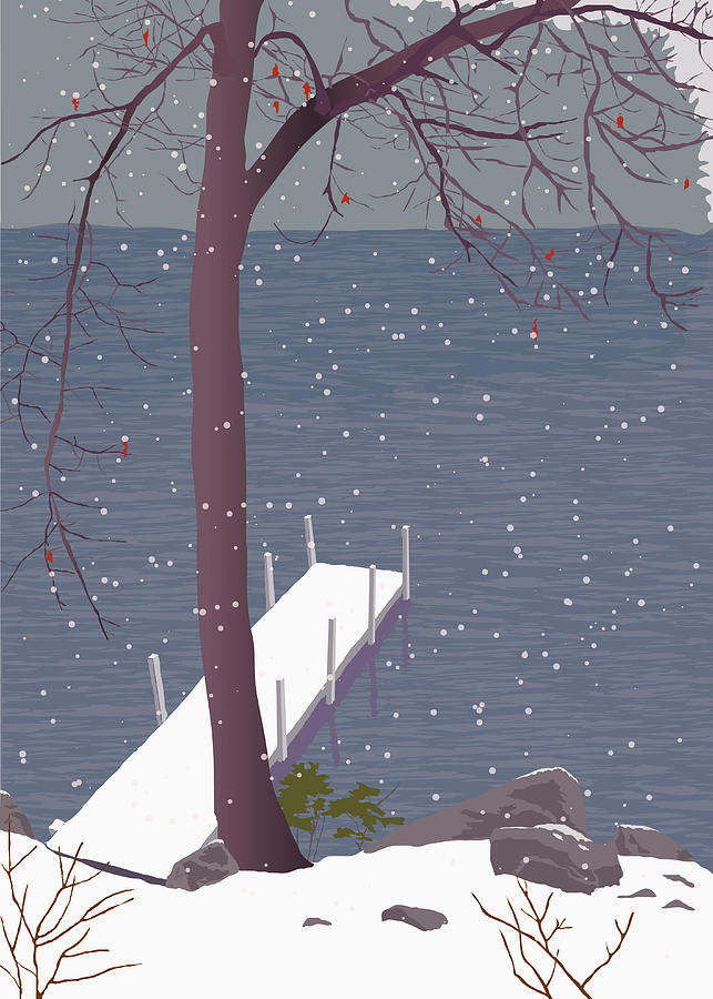 Winter Painting - Early Snowfall by Marian Federspiel