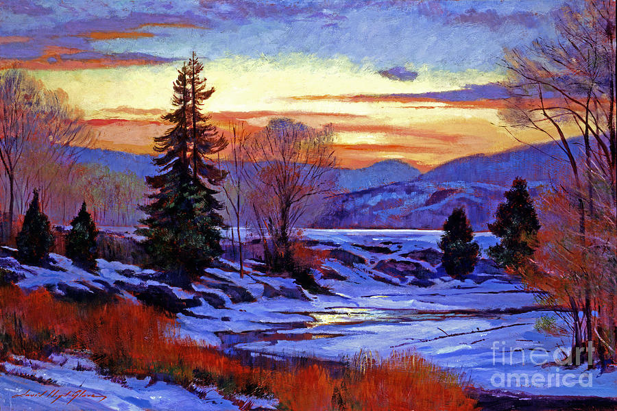 Snow Painting - Early Spring Daybreak by David Lloyd Glover