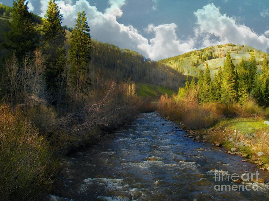 Colorado Digital Art - Early Spring Delores River by Annie Gibbons
