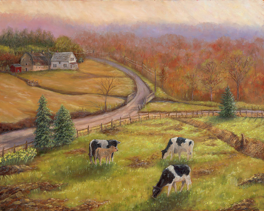 Landscape Painting - Early Spring Vermont by June Hunt